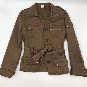j crew blazer womens cotton tan xs